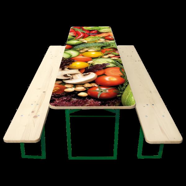 67er Biertisch-Garnitur mit bedrucktem Tisch