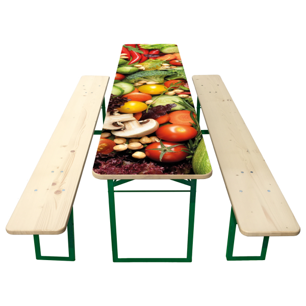 50er Biertisch-Garnitur mit bedrucktem Tisch