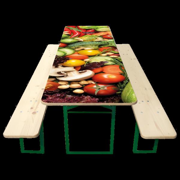 80er Biertisch-Garnitur mit bedrucktem Tisch